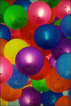 rainbow balloons low angle